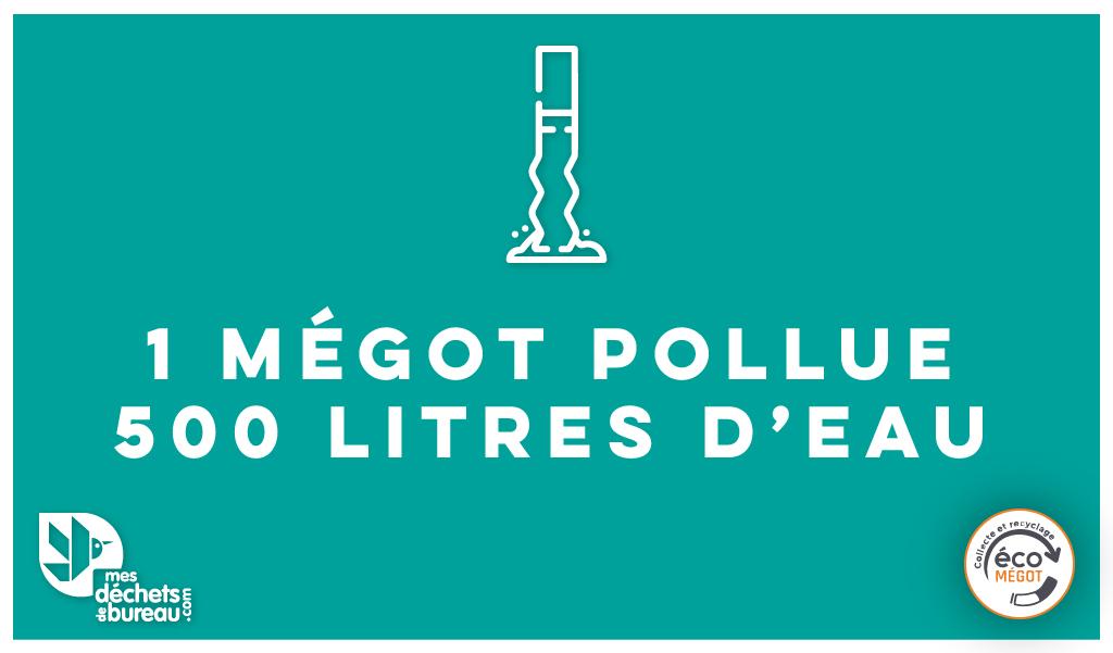 1 Mégot pollue 500L d'eau